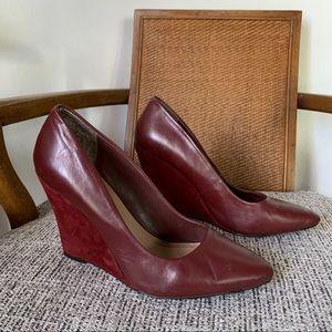 Burgundy Leather Wedge Heels